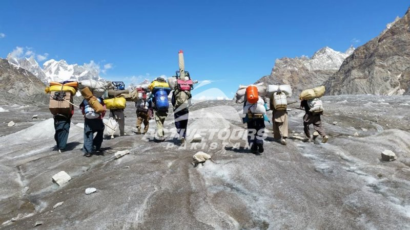 Trekking equipment taking by porters for the hispar trek