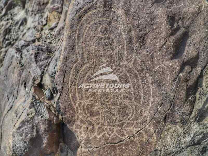 rock carving along the Indus River and Karakorum Highway